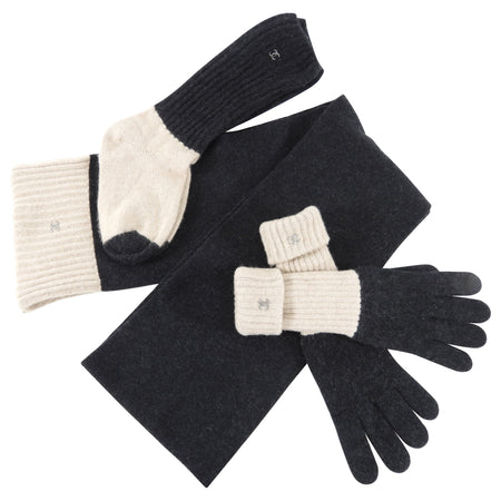 Chanel Beige and Grey Cashmere Scarf, Gloves, Socks Set