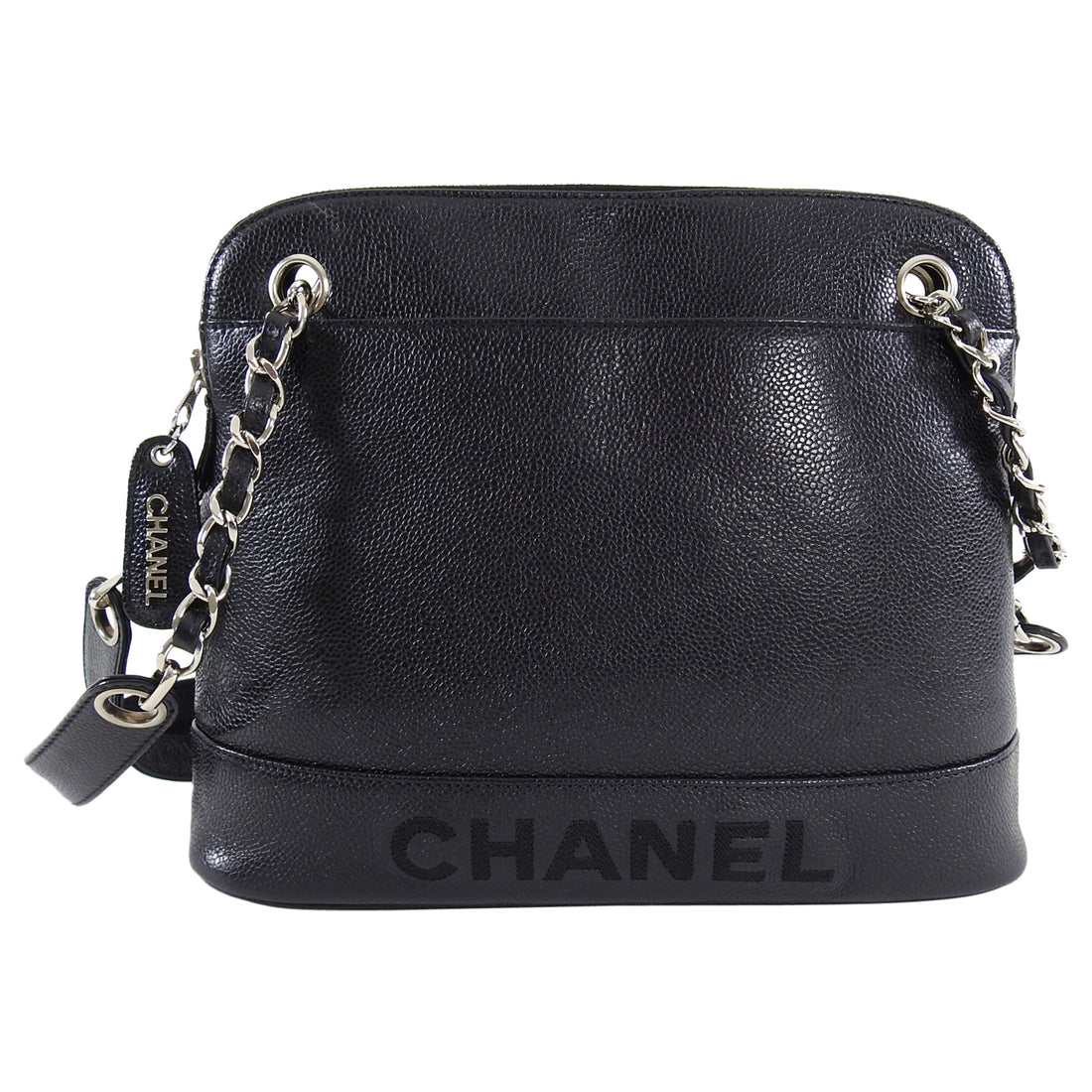 Chanel Vintage 1996 Black Caviar Embroidered Logo Shoulder Bag