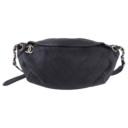 Chanel Black Caviar Stitched Banane Fanny Pack Belt Bag