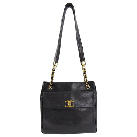 Chanel Vintage 1994 Caviar Leather Gold CC Clasp Tote Bag