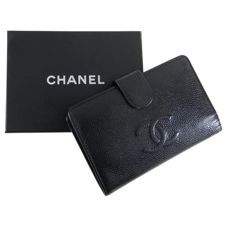 Chanel Black Caviar CC L-Zip Wallet