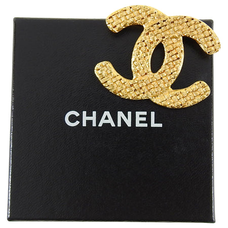 Chanel vintage 1992 CC Woven Texture Logo Brooch Pin