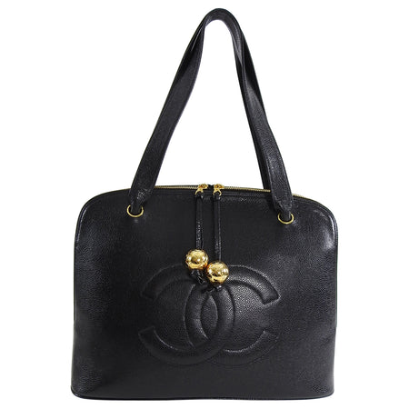Chanel Vintage Black Caviar Leather CC Logo Zip Top Bag