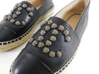 Chanel CC Stud Black Leather Espadrilles - 37