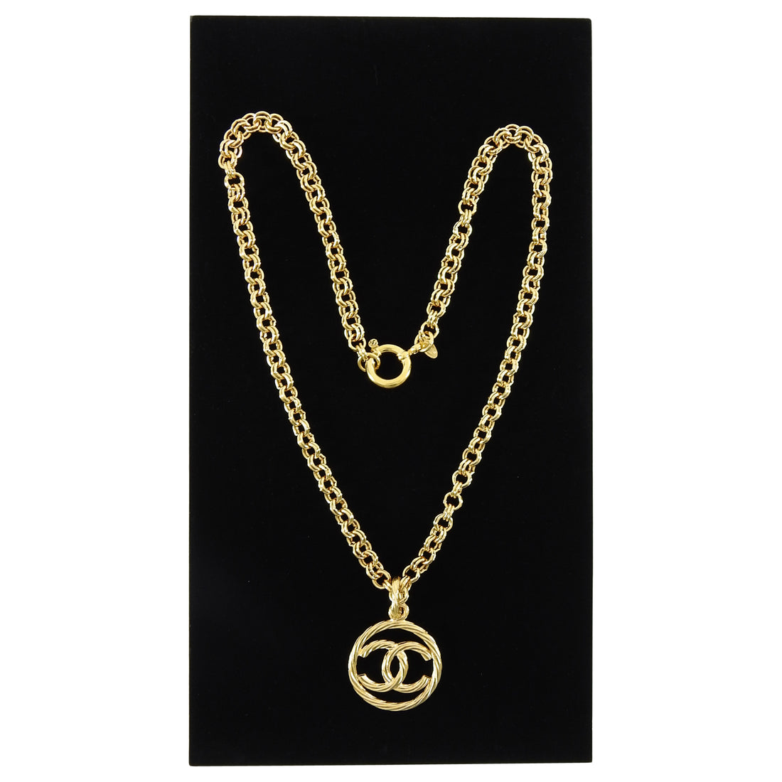 Chanel Vintage 93P Gold CC Pendant Necklace