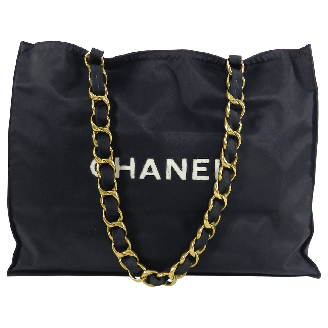Chanel Vintage 1991 Black Nylon CC Logo Tote Bag with Gold Chain Straps