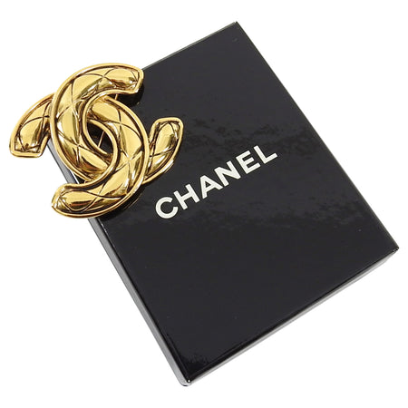 Chanel Vintage 1990's Large CC Quilt Goldtone Logo Brooch / Pin