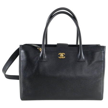 Chanel Black Executive Cerf Tote Bag Gold Hardware