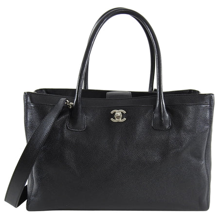 Chanel Executive Cerf Tote Black Leather SHW
