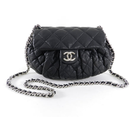 "Chanel Cruise 2011 black lambskin Quilt ""Chain Around"" Flap Bag"
