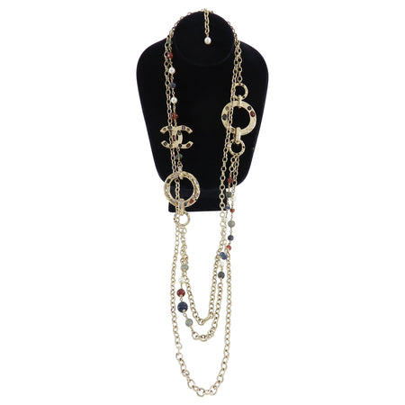 Chanel 16A Gold Multi Strand Long Bead and Enamel Necklace