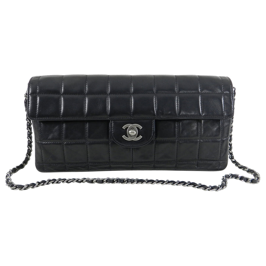 f9383347e4fd Chanel Choco Bar Black Quilted East West Flap Shoulder Bag   Clutch ...