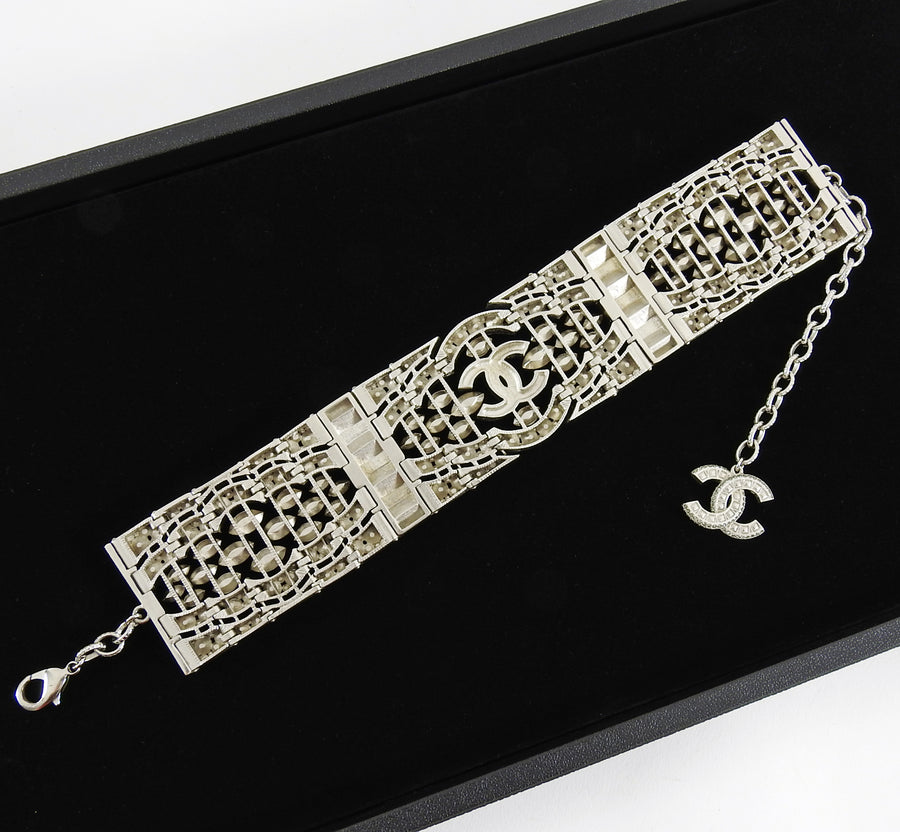 Chanel 15K Crystal CC Art Deco Style Runway Choker Necklace