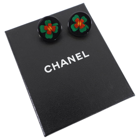 Chanel Vintage 04P Clover Resin Round Clip on Earrings