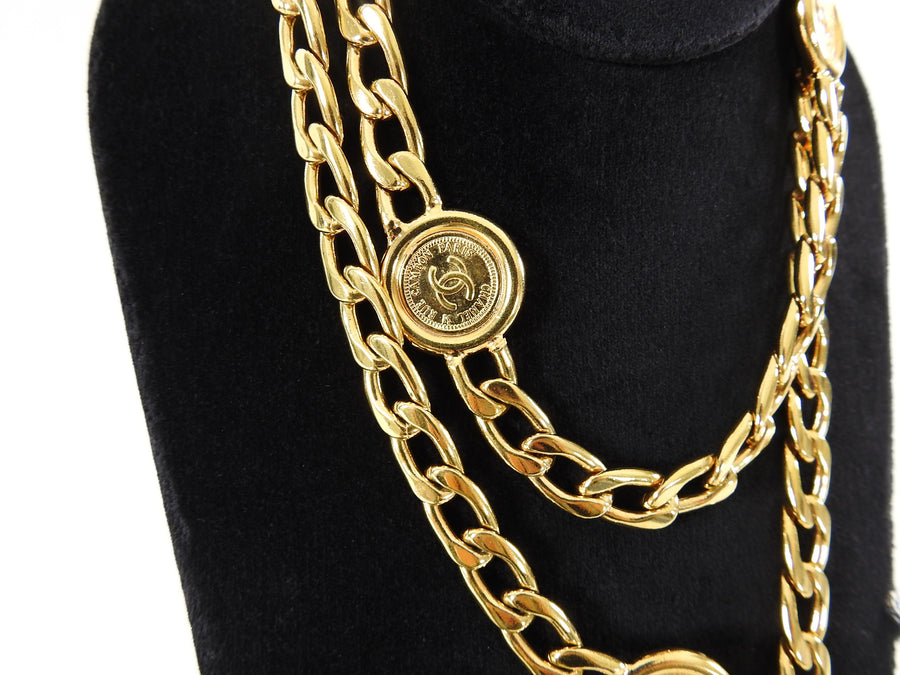 Chanel Vintage 1994 P Gold Coin Chain Belt