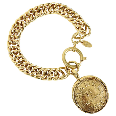 Chanel Vintage 1990's Gold Medallion Coin Bracelet