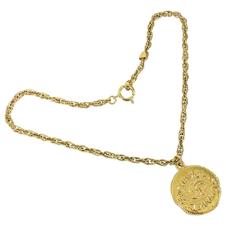 Chanel Vintage 93P Gold CC Coin Pendant Necklace