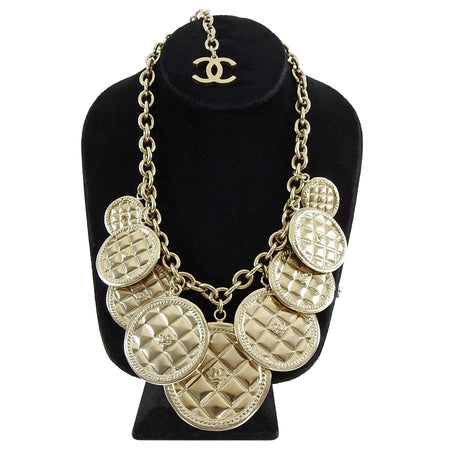 Chanel 2015 Fall Runway Gold Coin Charm Necklace