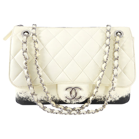 Chanel Cream and Black Dip Quilted Flap Bag