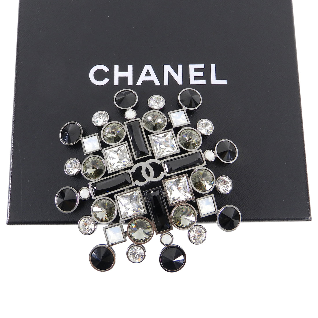 Chanel 06A Large Black, Clear, Grey, Crystal Statement Brooch Pin