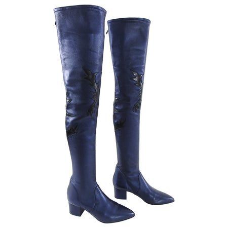 Chanel Thigh High Navy Dallas Collection Western Boots - 40