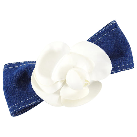 Chanel Vintage Blue Denim and White Camelia Hair Clip