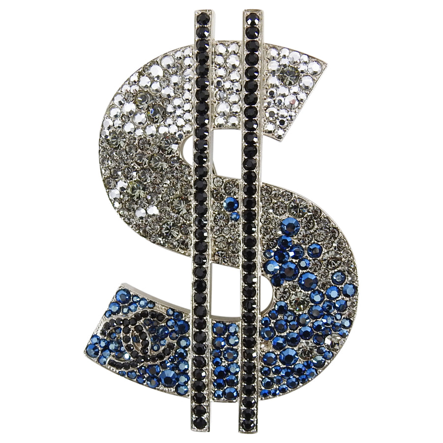 Chanel 08P Crystal Strass CC Dollar Sign Brooch Pin
