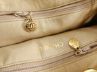 Chanel Vintage 1989 Ivory Fabric Chain Drawstring Quilt Bucket Bag