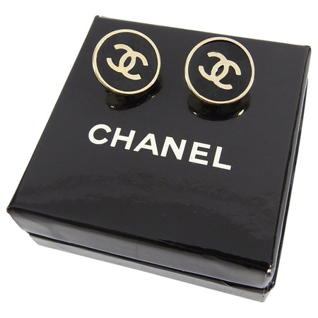 Chanel Vintage 03V Black and Gold Round CC Logo Clip Earrings