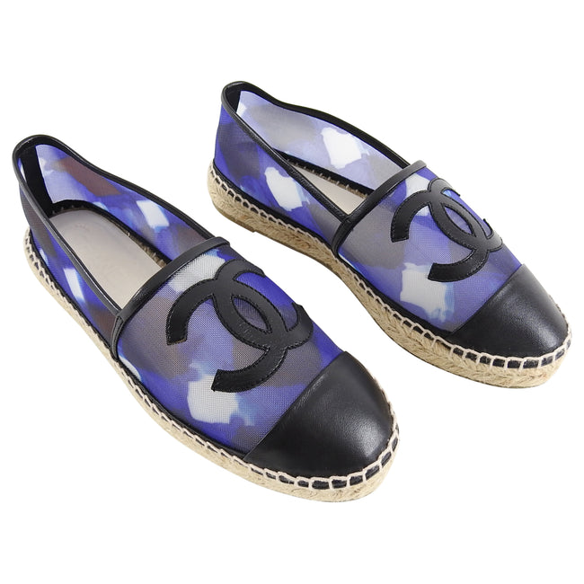 297618ec73c Chanel Blue Mesh and Black Leather CC Espadrille Flats - 36.5