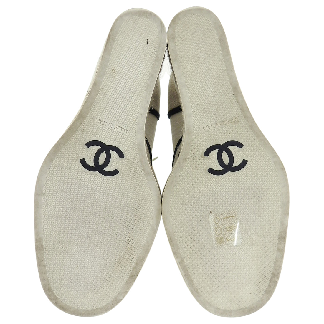 Chanel Ivory and Natural Linen Espadrille Wedge Shoes - 37