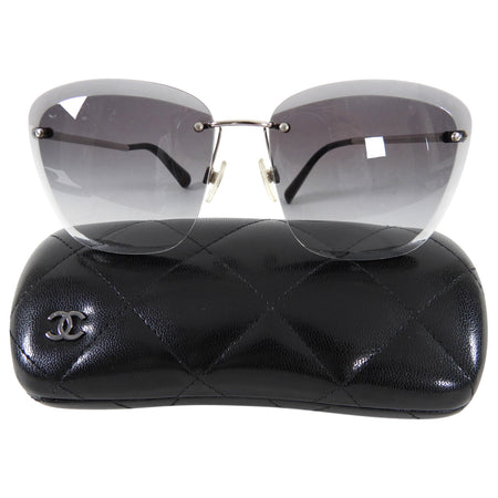 Chanel Frameless Faceted Smoke Sunglasses 4220