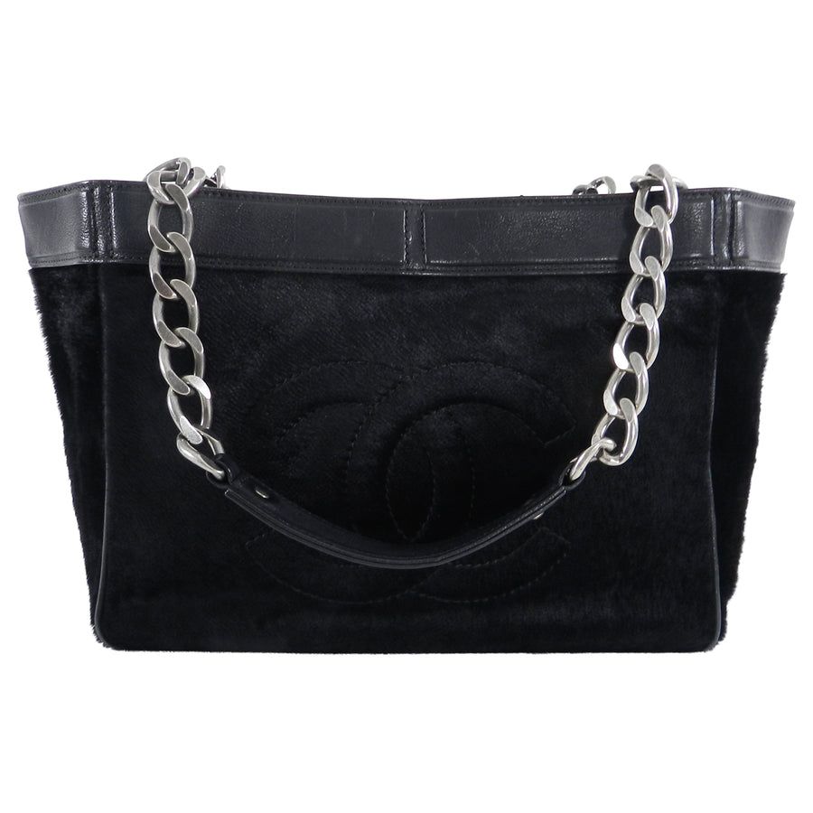 Chanel Black Faux Fur Velvet CC Logo Chain Tote Bag