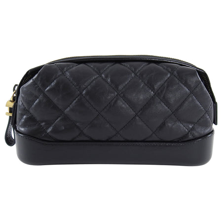 Chanel 2018 Gabrielle Black Quilted Leather Cosmetic Clutch Bag