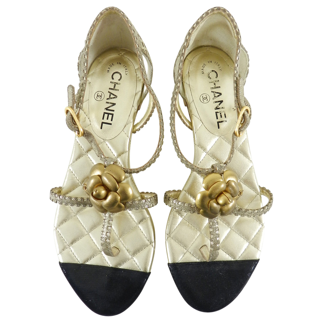Chanel Gold Quilt Flat CC Camelia Sandals - 37