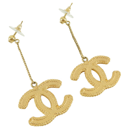 Chanel 2017 Matte Gold CC Drop Earrings