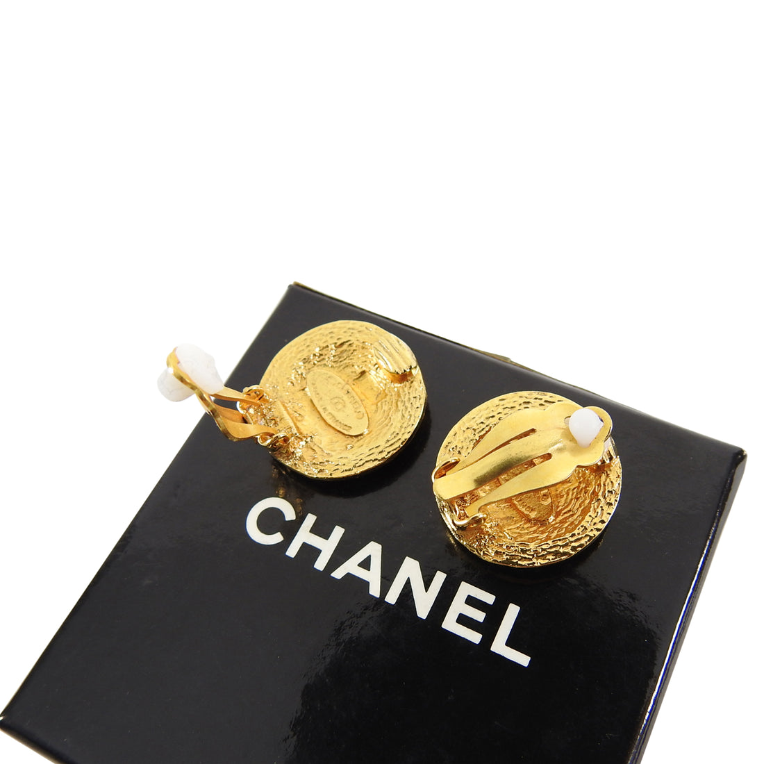 Chanel Vintage Goldtone Round CC Logo Clip Earrings