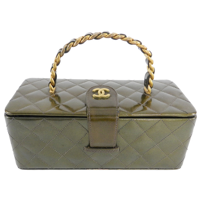 Chanel Vintage 1994 Olive Green Patent Vanity Case Bag