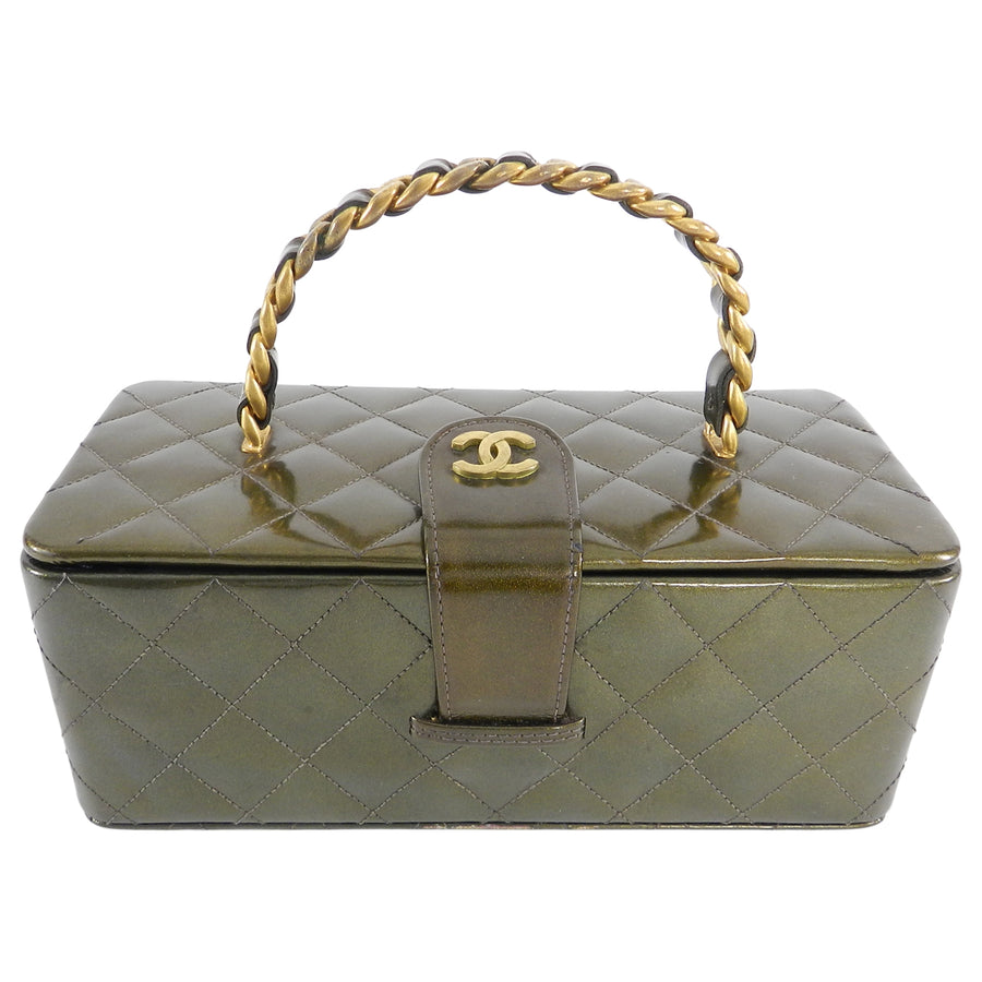 9e70fd8fad4a Chanel Vintage 1994 Olive Green Patent Vanity Case Bag – I MISS YOU ...