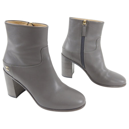 Chanel Light Grey Leather Ankle Boots with CC Logo - 37.5 / 7