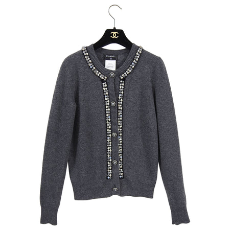 Chanel Charcoal Grey Cashmere Embellished Cardigan Sweater - 38