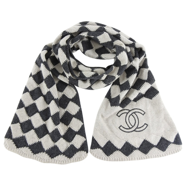 Chanel Grey Cashmere check CC Logo Scarf
