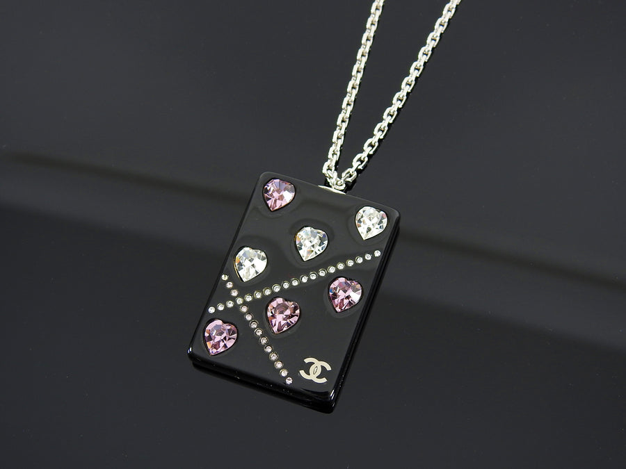 Chanel 04A Pink Crystal Heart CC Acrylic Pendant Necklace