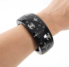 Chanel 08P Crystal Star Black Resin Hinged Clamper Bracelet