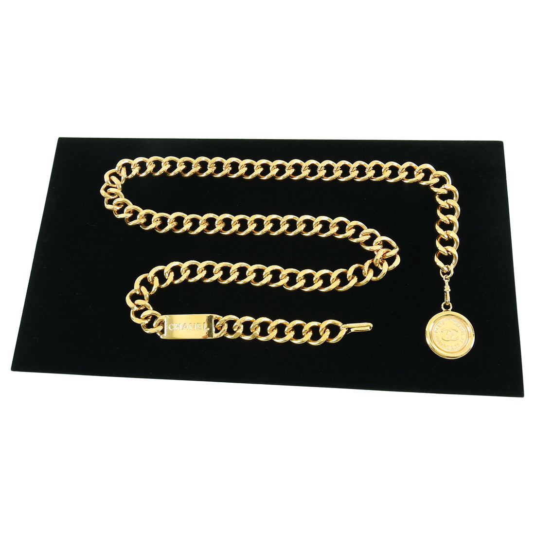 Chanel Vintage 1990's Gold ID Medallion Chain Belt