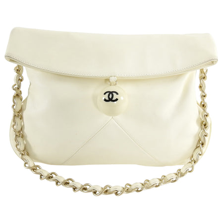 Chanel Ivory Lambskin Chain Strap Shoulder Bag with CC Resin Ball