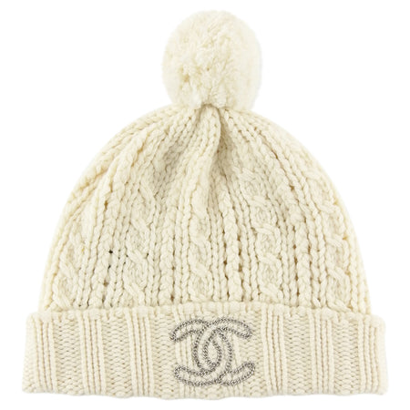 Chanel CC Ivory Cashmere Beanie Knit Hat with Pom Pom