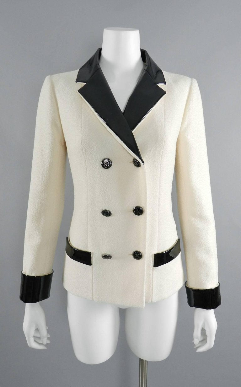 Chanel 15A Ivory Wool Runway Jacket with Patent Leather Trim
