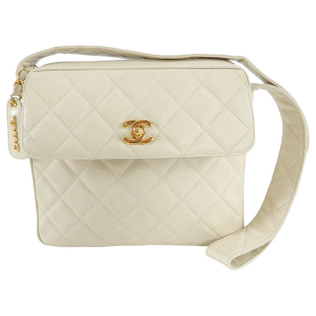 Chanel Vintage 1994 Cream Caviar Leather Quilt Shoulder Bag