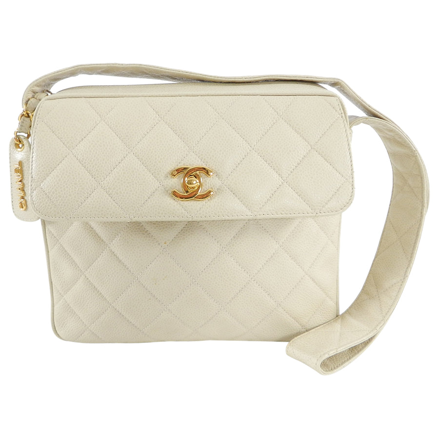 8313f9ee229a Chanel Vintage 1994 Cream Caviar Leather Quilt Shoulder Bag – I MISS ...